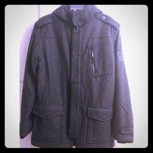 NWOT! FOX🧥 Men's Wool Coat/Hooded Jacket Charcoal